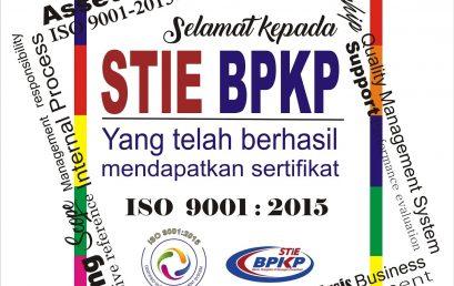 STIE BPKP Mendapatkan sertifikasi ISO 9001 : 2008